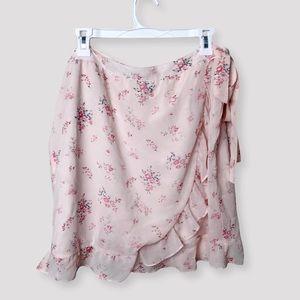 LOFT OUTLET Pink Floral Chiffon Wrap Skirt Size 16